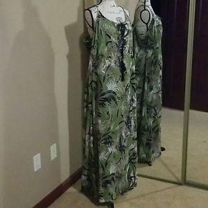 Joe Brown green floral print sleeveless maxi dress